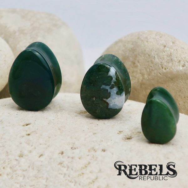 Moss Agate Teardrop Plugs