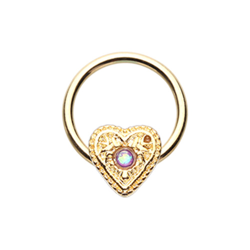 Opal Heart Septum Ring