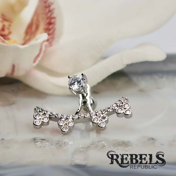 Barbella Rhodium Earrings