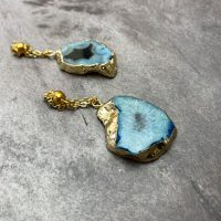 Blue Agate Stone Ear Weights