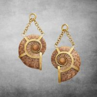Ammonite Sunstone Dangles