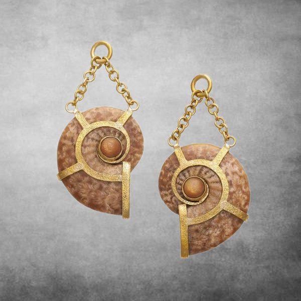 Ammonite Sunstone Dangles